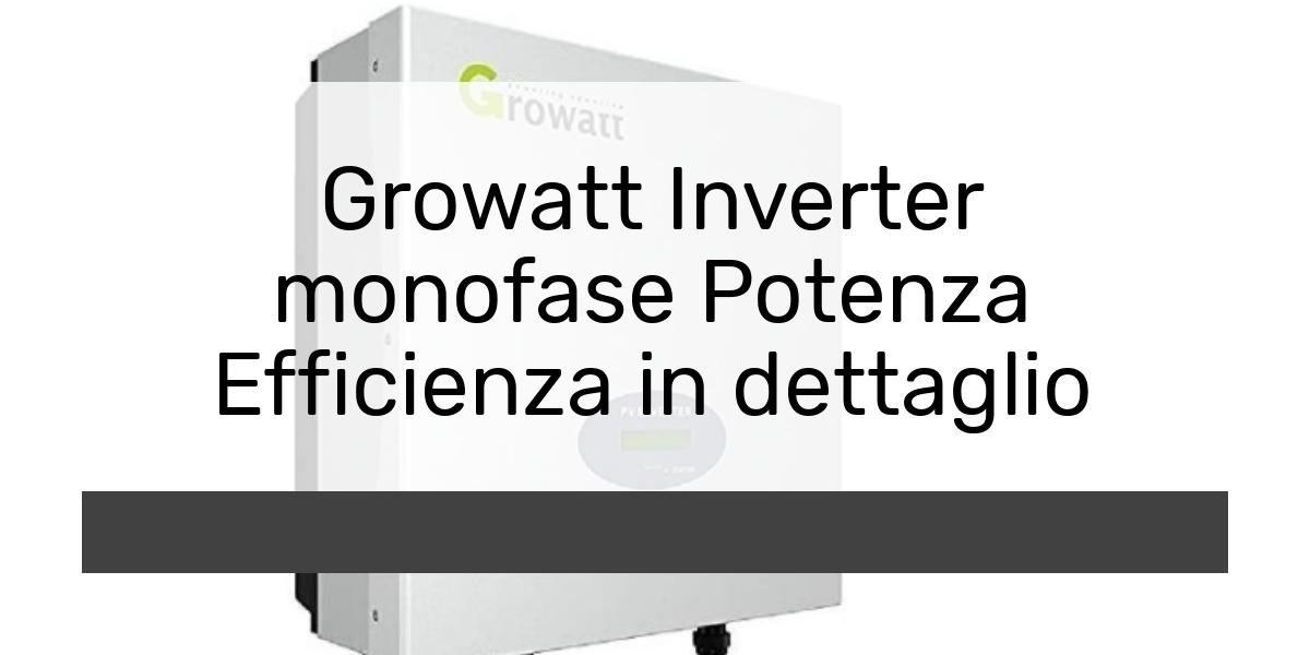 Growatt Inverter monofase Potenza Efficienza in dettaglio