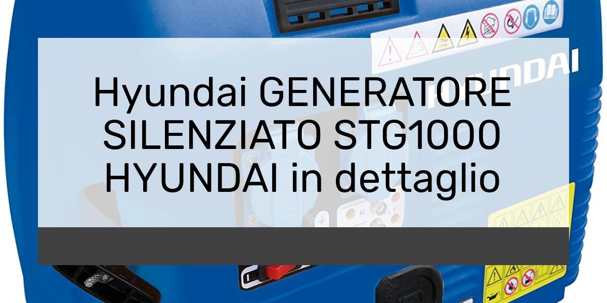 Hyundai GENERATORE SILENZIATO STG1000 HYUNDAI in dettaglio